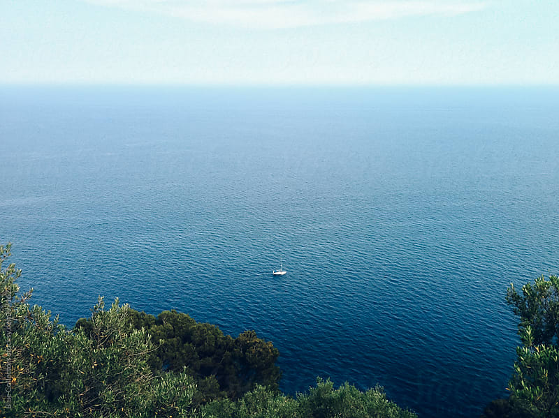 Sailing boat in the mediterranean sea by Blue Collectors for Stocksy United