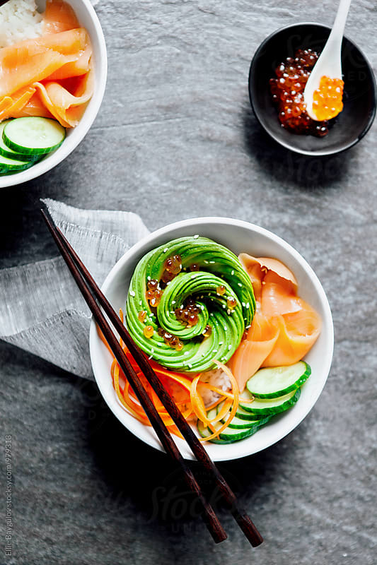 Sushi bowl by Ellie Baygulov for Stocksy United