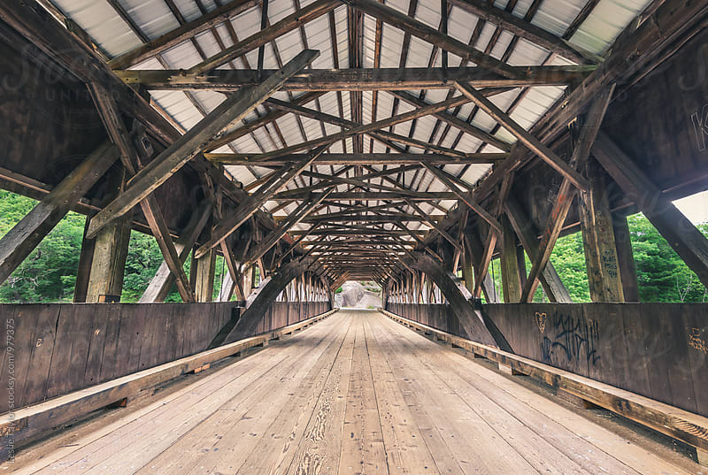Inside An Old Wooden Covered Bridge In New England by Leslie Taylor for Stocksy United