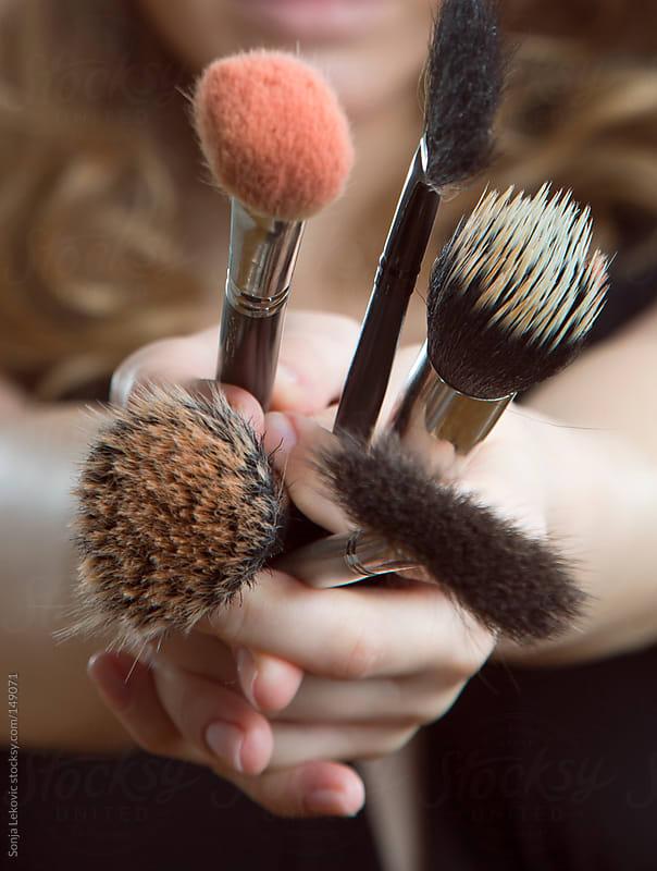 make-up brushes by Sonja Lekovic for Stocksy United