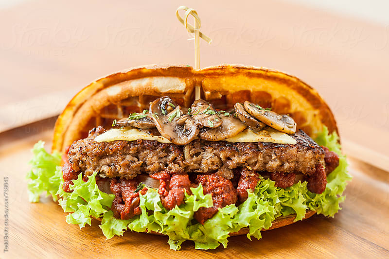 Savoury Waffle Burger by Todd Beltz for Stocksy United