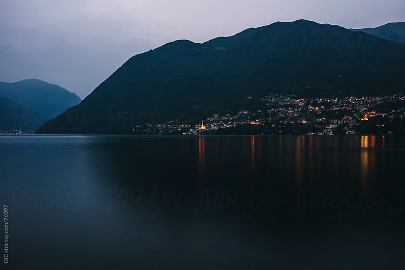 Night landscape on Lake Como, Italy by Simone Becchetti for Stocksy United