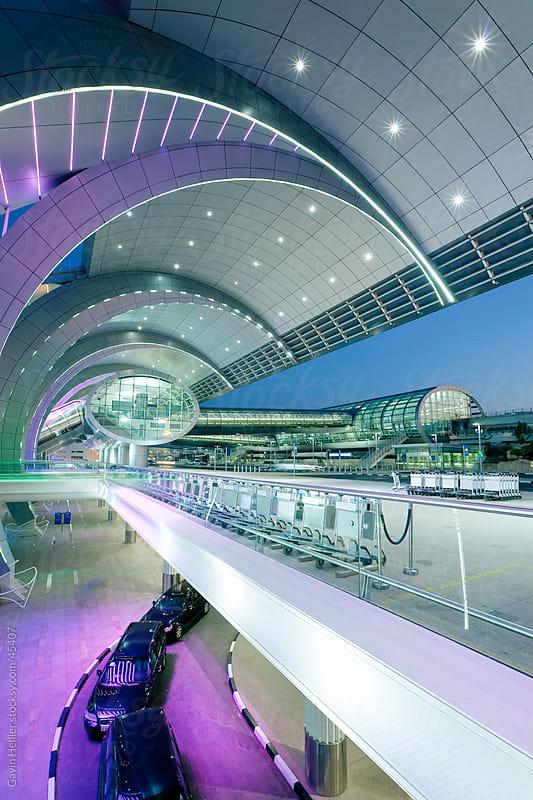 Stylish modern architecture of Dubai International Airport, Dubai, UAE, United Arab Emirates by Gavin Hellier for Stocksy United