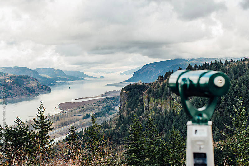A telescope at a gorgeous overlook by Dylan M Howell Photography for Stocksy United