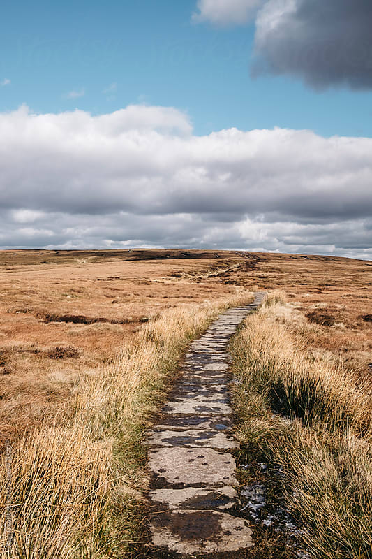 Footpath through moorland on Bleaklow, Derbyshire, UK. by Liam Grant for Stocksy United