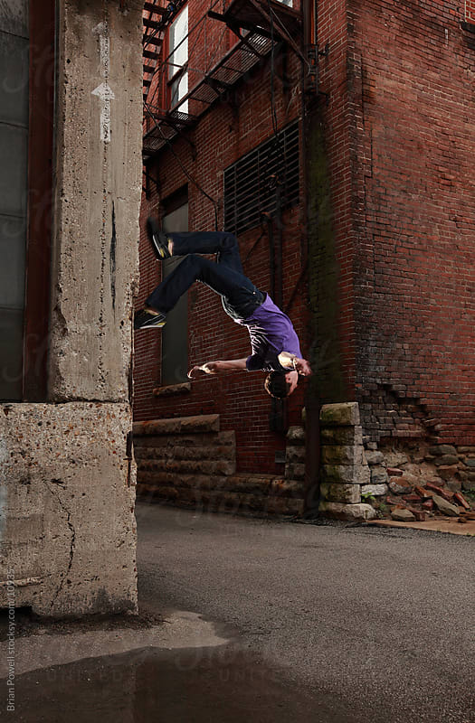 parkour wall flip by Brian Powell for Stocksy United