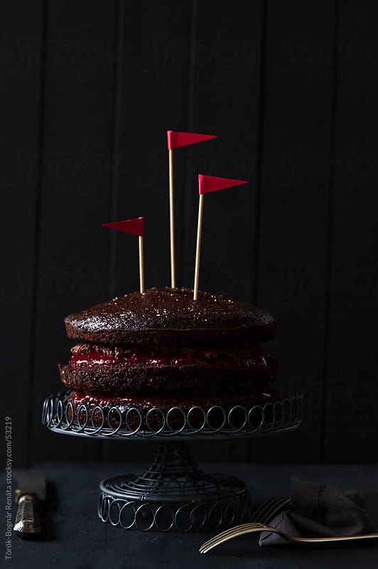Devil's food cake with raspberry by Török-Bognár Renáta for Stocksy United