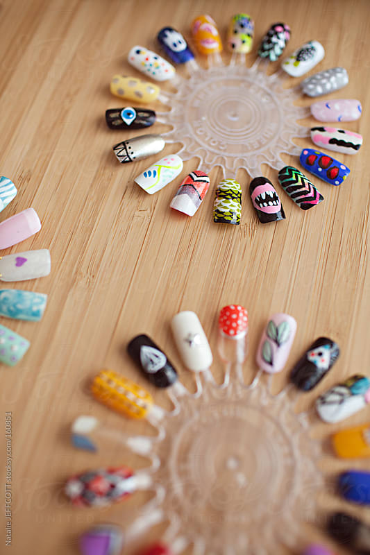 colourful and graphic nail art design for finger nails by Natalie JEFFCOTT for Stocksy United