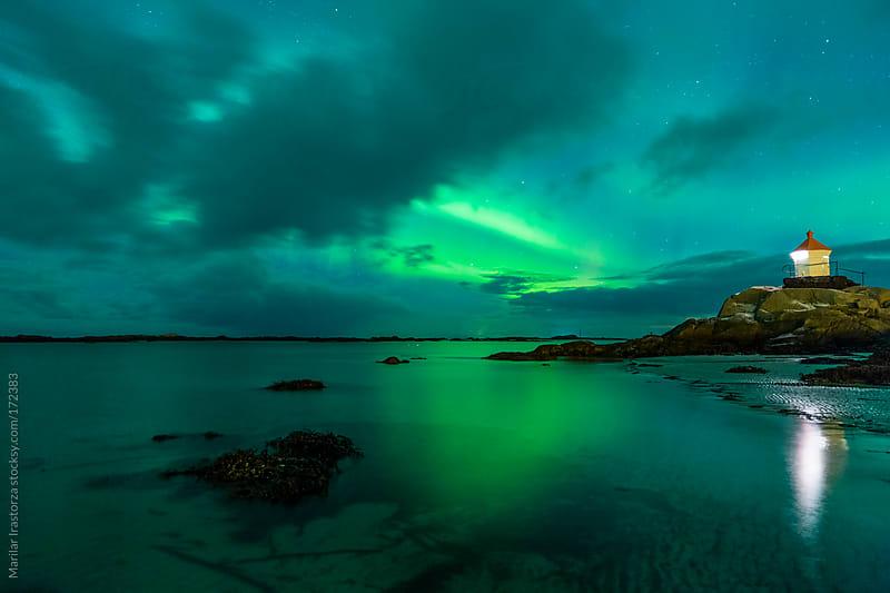 Aurora borealis over Eggum beach, Lofoten Islands by Marilar Irastorza for Stocksy United