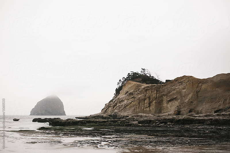 foggy day at oregon coast ocean beach by Nicole Mason for Stocksy United