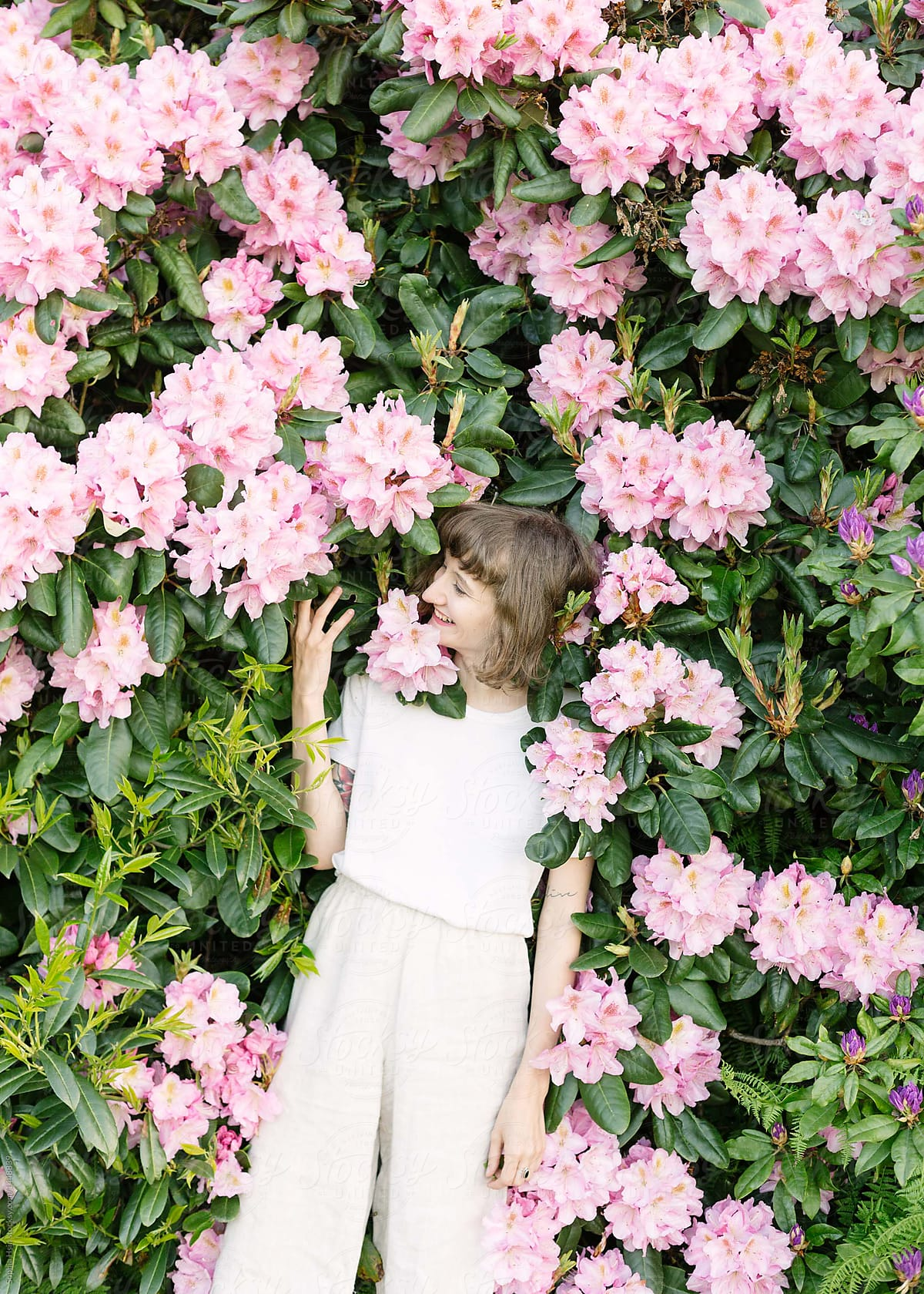 Portrait Of Girl Laughing In Pink Flower Bush Stocksy United