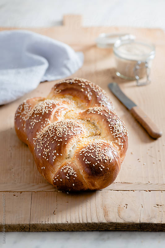 Challah, braided jewish bread by Laura Adani for Stocksy United
