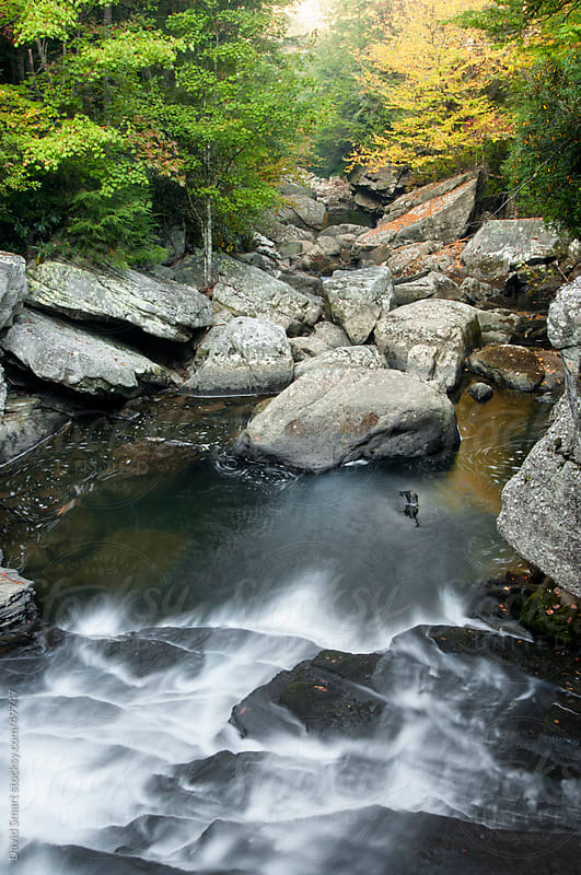 Cascade in a stream bed  strewn with boulders in the Savage Gulf State Natural Area in Tennessee by David Smart for Stocksy United