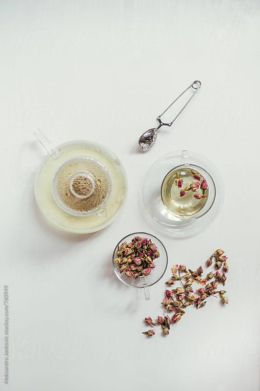 Rosebud Tea on the White Table by Aleksandra Jankovic for Stocksy United