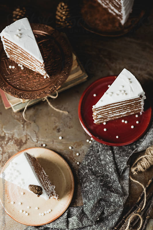 Slices of winter cake with pearls by Tatjana Zlatkovic for Stocksy United