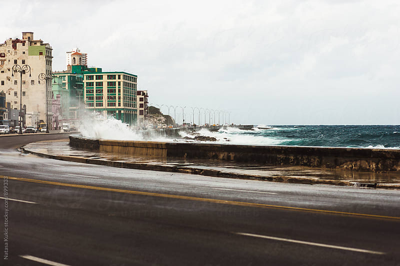 Waves hitting the Malecon,Havana by Natasa Kukic for Stocksy United