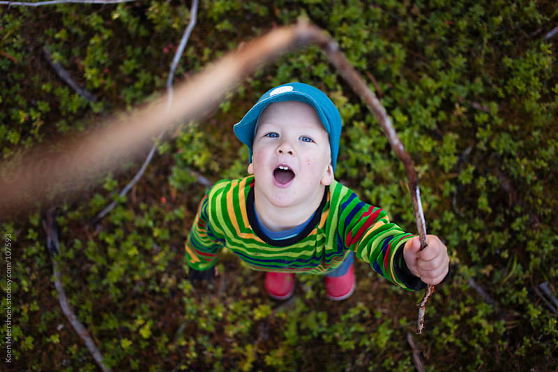 Young kid holding a branch while looking in the camera. by Koen Meershoek for Stocksy United