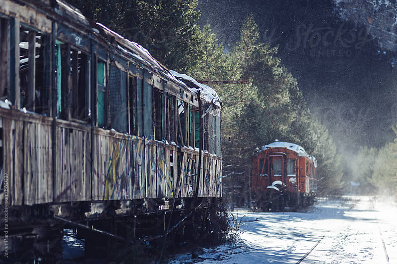 old real station with train at winter by Javier Pardina for Stocksy United