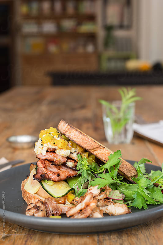 epic toasted sandwich with bacon, chicken, hummus, zucchini, pumpkin... and the rest! by Gillian Vann for Stocksy United