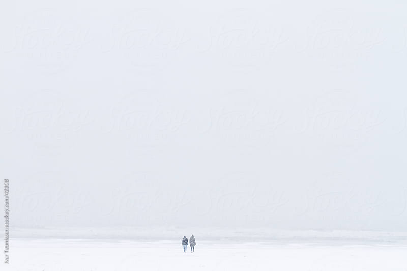 Two friends on a snowy beach by Ivar Teunissen for Stocksy United