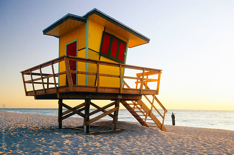 Lifeguard hut in art deco style, South Beach, Miami Beach, Miami by Gavin Hellier for Stocksy United