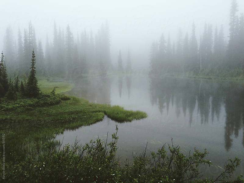 Foggy Lake Reflection by Kevin Russ for Stocksy United