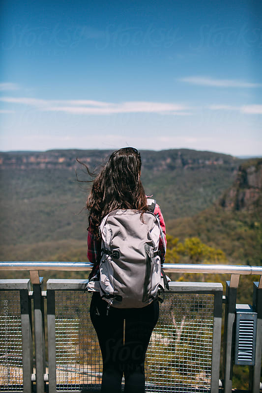 Woman in a viewer, The three sisters, Echo point, Blue Mountains by Leandro Crespi for Stocksy United