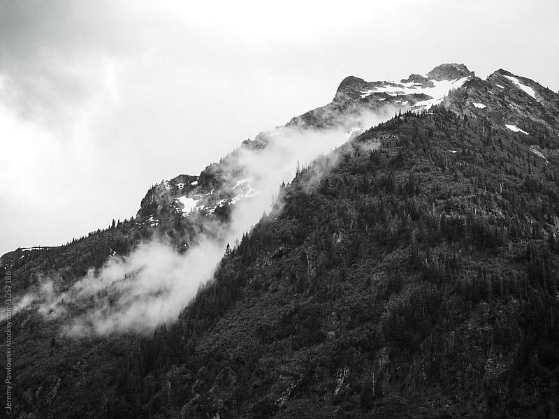 Moody black and white landscape of fog on mountain. Washington by Jeremy Pawlowski for Stocksy United