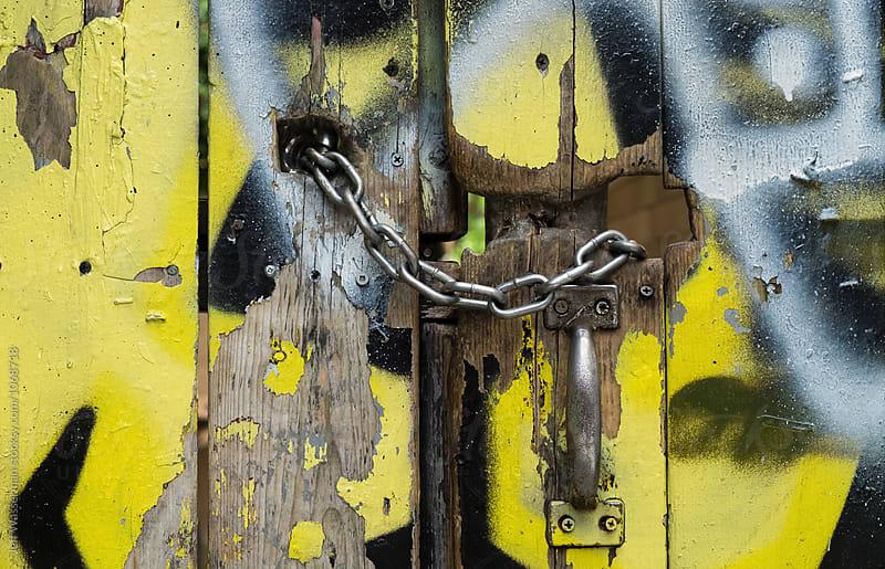 Chain Lock on Outdoor Door by Jeff Wasserman for Stocksy United