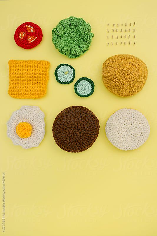 Amigurumi Hamburger Ingredients by Blai Baules for Stocksy United