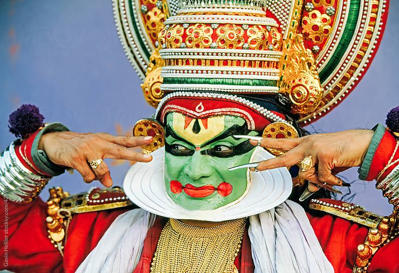Portrait of a Kathakali dance performer, Kochi (Cochin), Kerala, India by Gavin Hellier for Stocksy United