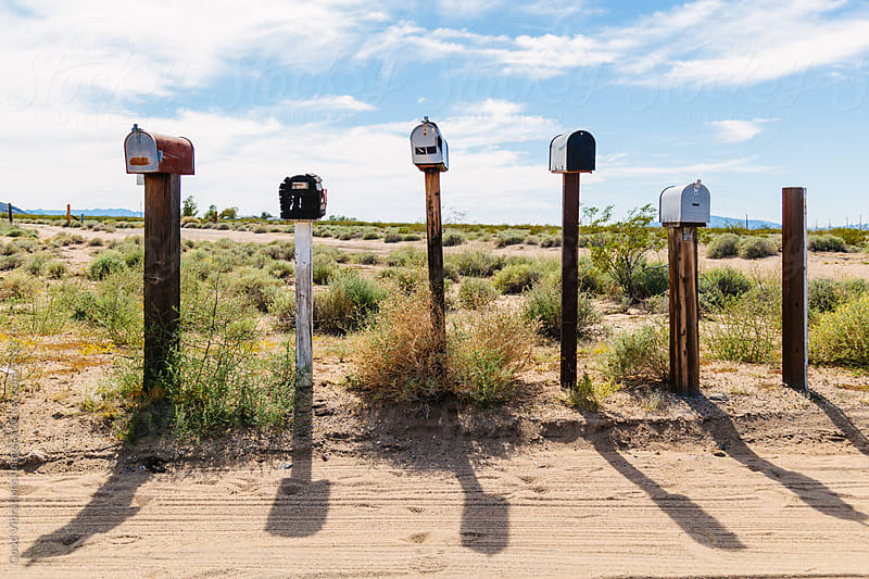 Mailboxes in the desert by Good Vibrations Images for Stocksy United