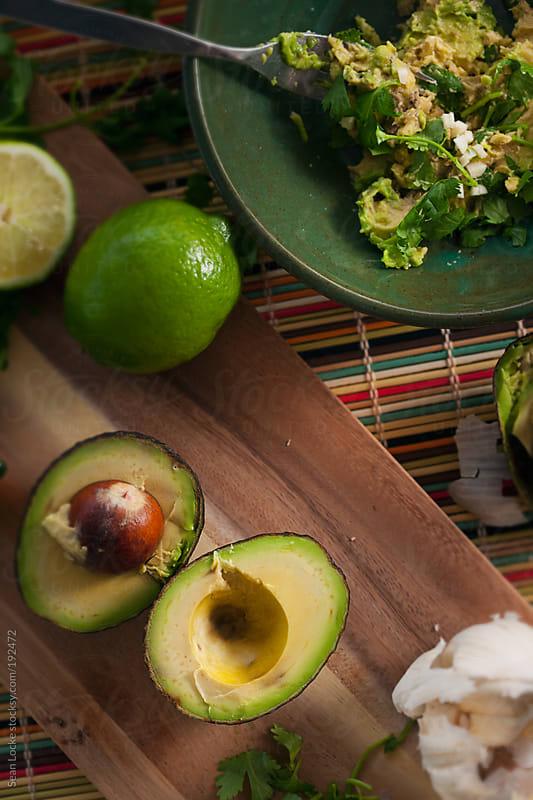 Fiesta: Overhead View Of Guacamole Ingredients by Sean Locke for Stocksy United