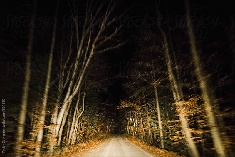 Spooky road at night by Isaiah & Taylor Photography for Stocksy United