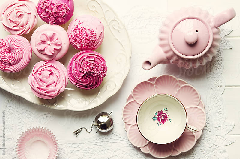 Afternoon tea, overhead view by Ruth Black for Stocksy United