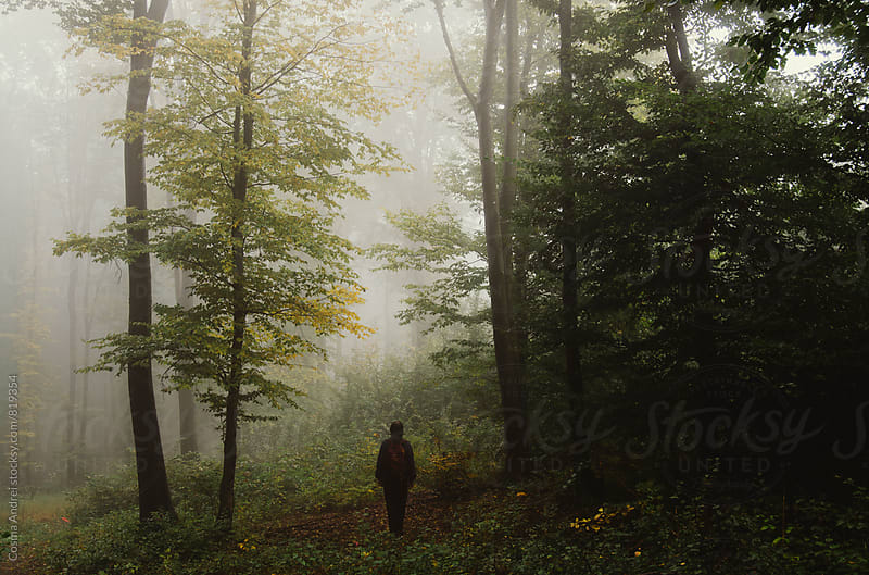Man in forest in autumn by Cosma Andrei for Stocksy United