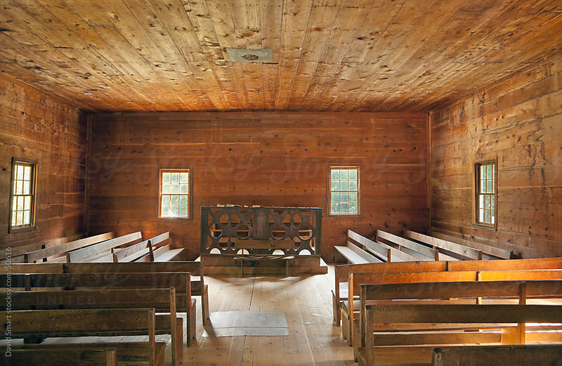 Interior of a church that was built 1887 in what is now the Great Smoky Mountains National Park by David Smart for Stocksy United