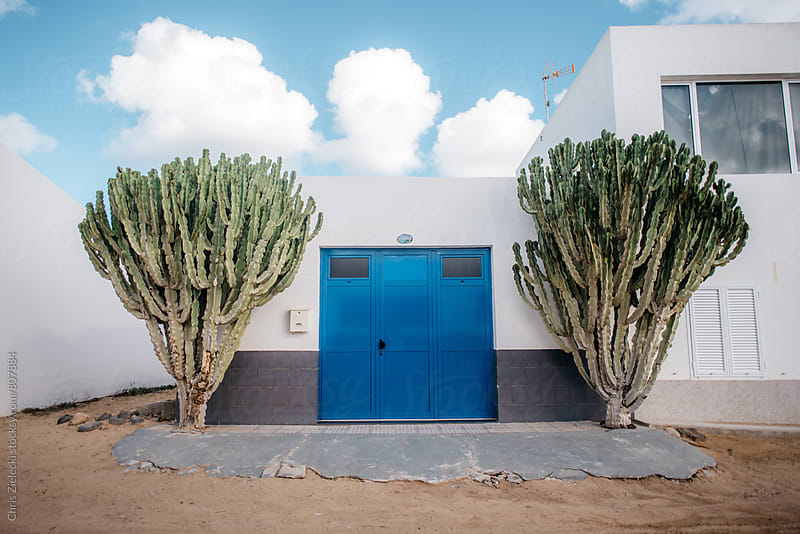 mediterranean garage framed by cacti by Christian Zielecki for Stocksy United