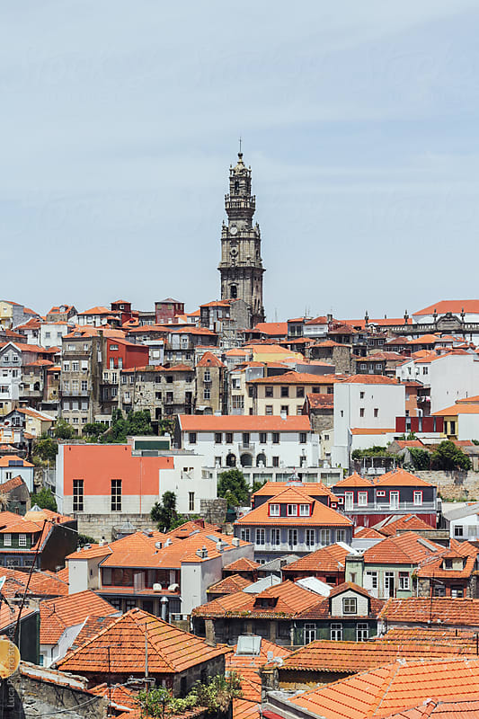 Typical buildings of the old town and Clérigos Church in Porto, Portugal by Luca Pierro for Stocksy United
