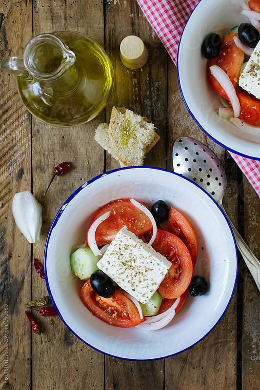 Fresh mediterranean salad  by Pixel Stories for Stocksy United