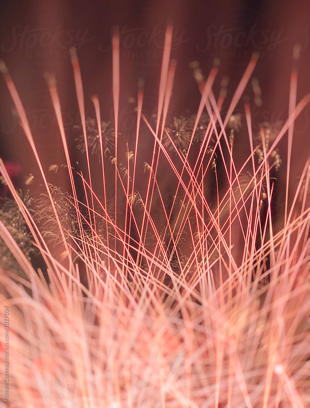 Red Fireworks Display Multiple Exposure by Ronnie Comeau for Stocksy United