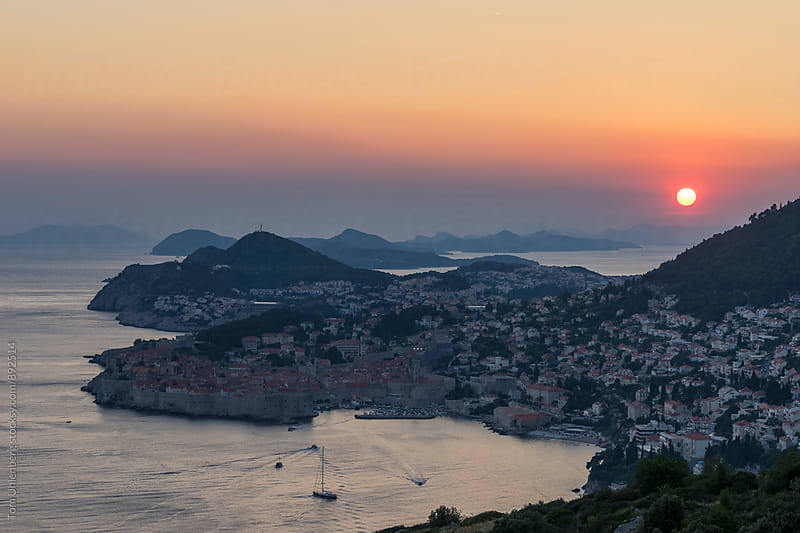 Croatia - Dubrovnik and the Adriatic Coast at Sunset by Tom Uhlenberg for Stocksy United