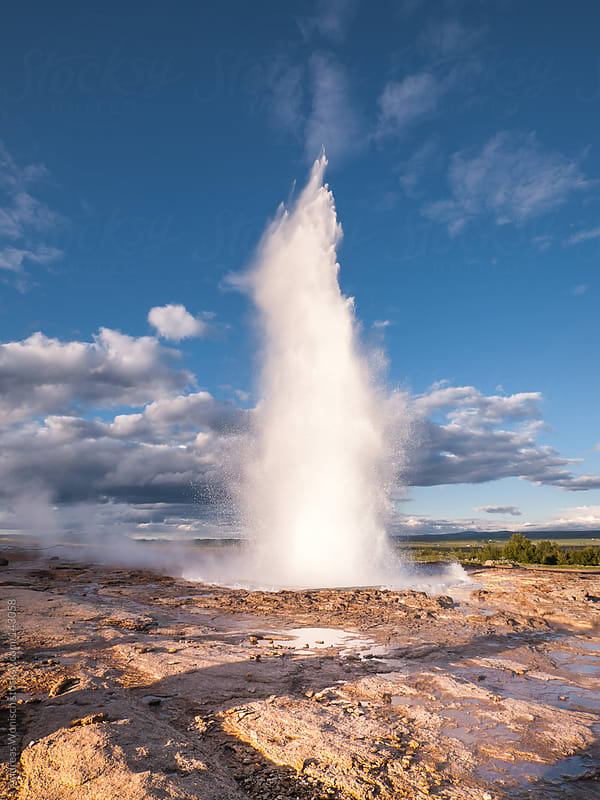 Eruption of Strukkur Geysir in Iceland by Andreas Wonisch for Stocksy United