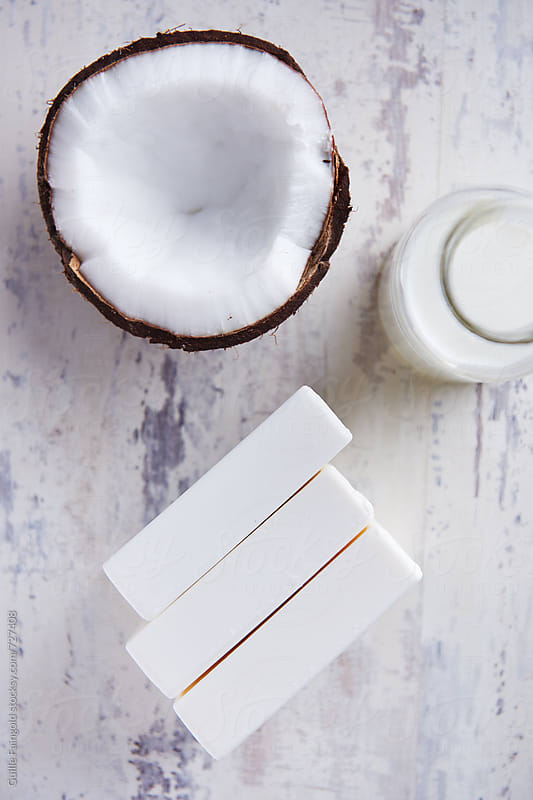 Coconut bar soap with coconut milk by Guille Faingold for Stocksy United