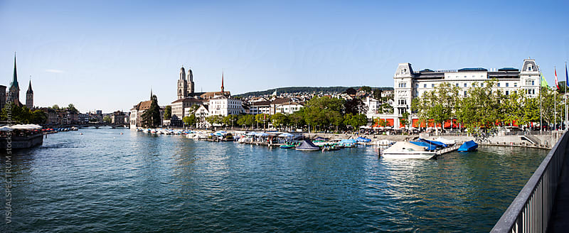 Zurich (Zürich) - River Limmat with Grossmünster by VISUALSPECTRUM for Stocksy United
