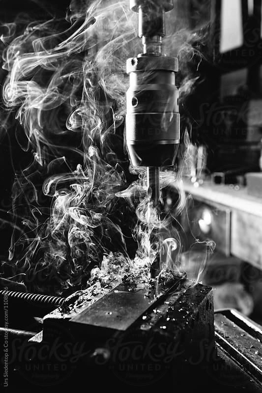Black and white image of drilling iron