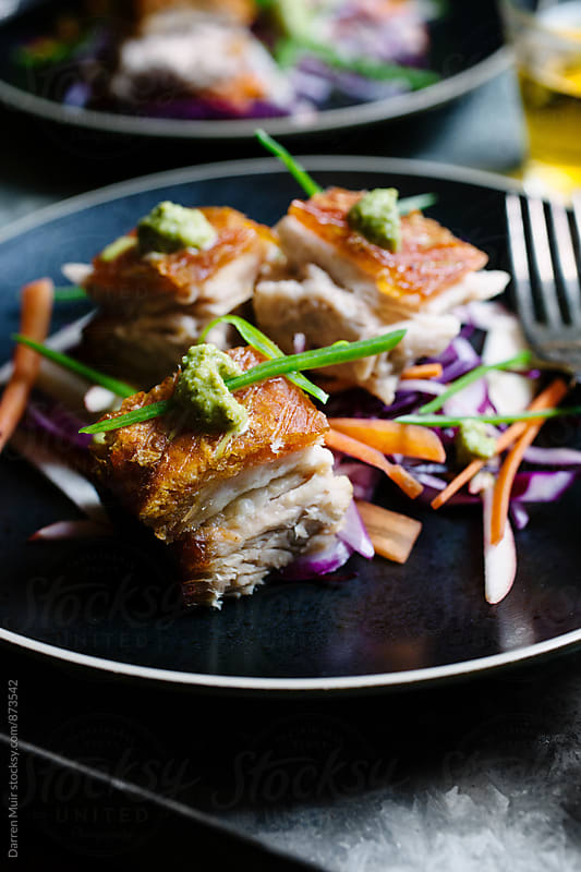 Closeup of a plate of gourmet pork belly with Asian style slaw. by Darren Muir for Stocksy United