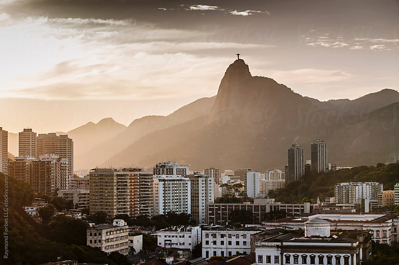 View of Downtown with Corcovado  by Raymond Forbes LLC for Stocksy United
