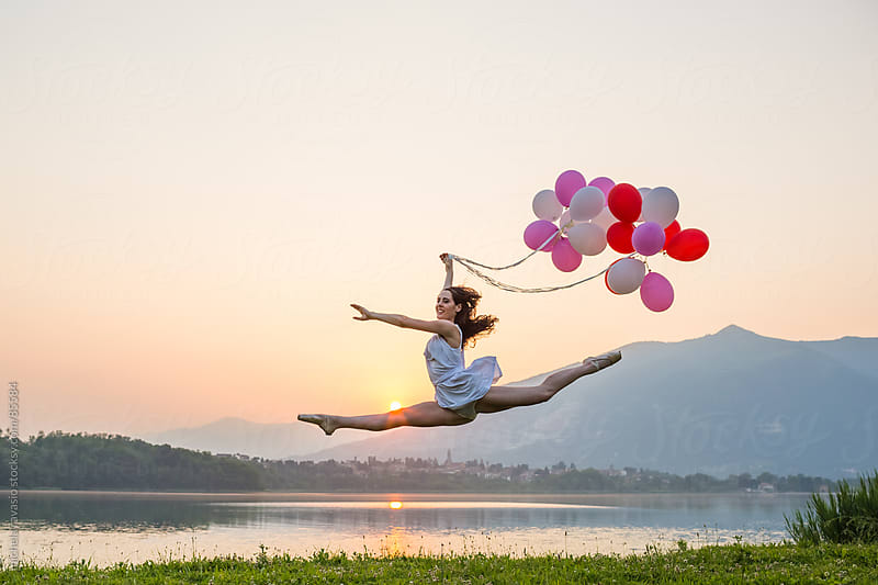 Ballet dancer with balloons by michela ravasio for Stocksy United