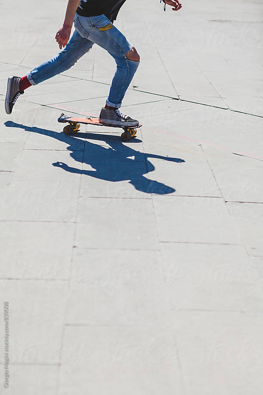 Teen Boy Skating in Urban Area by Giorgio Magini for Stocksy United